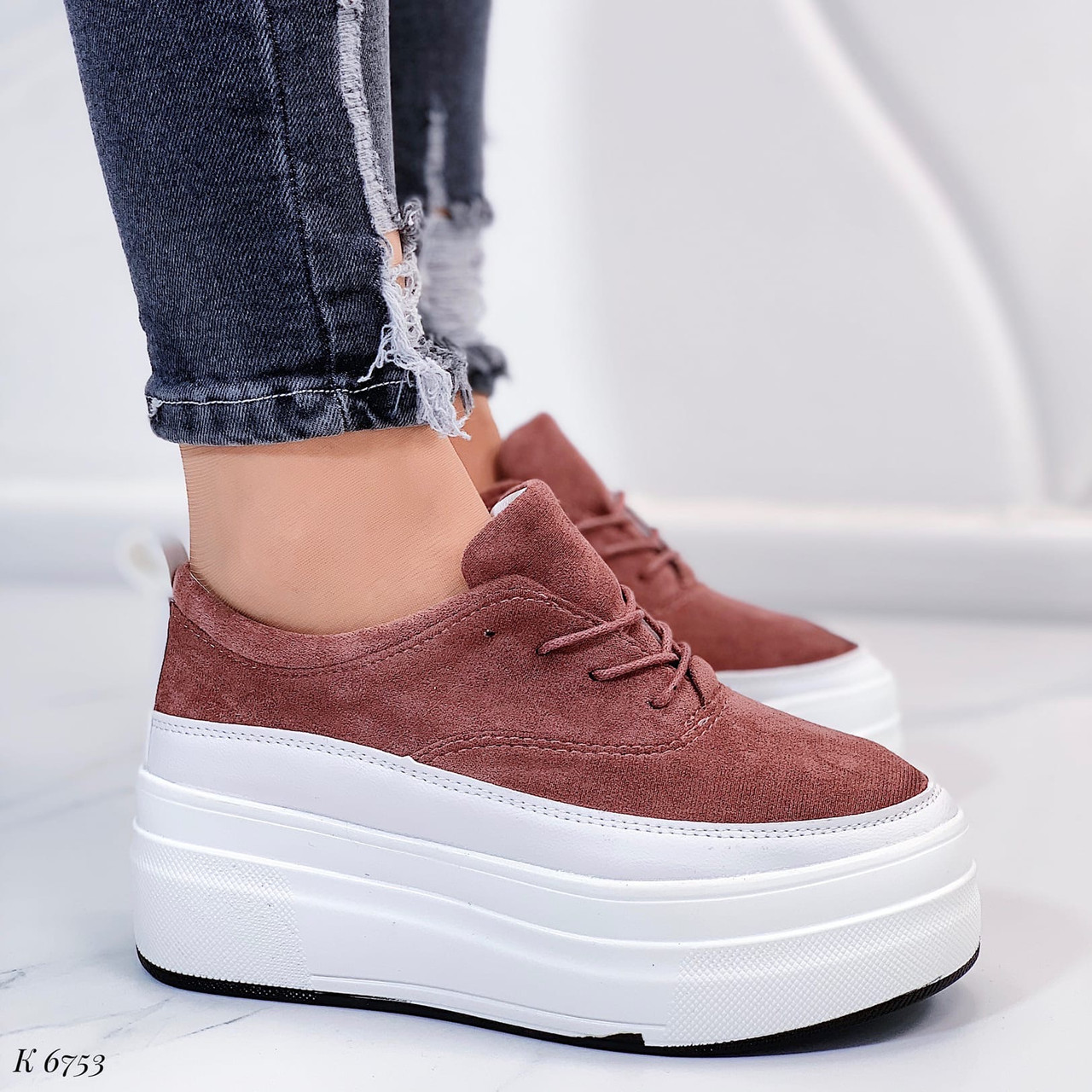 Только на 25,5 см!!! Женские кроссовки/ слипоны коричневые на платформе  эко замш