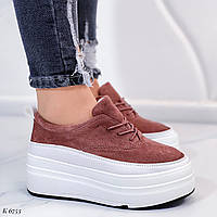 Только на 25,5 см!!! Женские кроссовки/ слипоны коричневые на платформе  эко замш, фото 1
