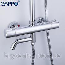 Душова система з верхнім душем, термостатом, виливши є перемикачем на лійку хром Gappo G2490, фото 3