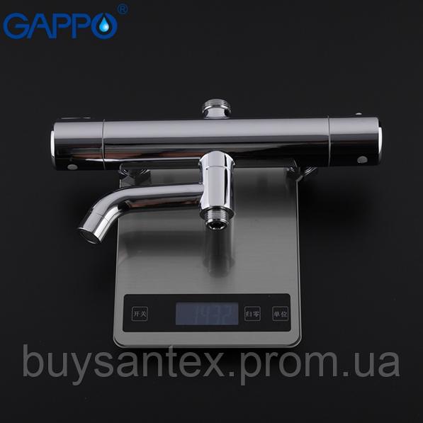 Душова система з верхнім душем, термостатом, виливши є перемикачем на лійку хром Gappo G2490