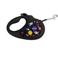 """Поводок-рулетка WAUDOG з малюнком """"NASA"""", розмір XS, стрічка."""