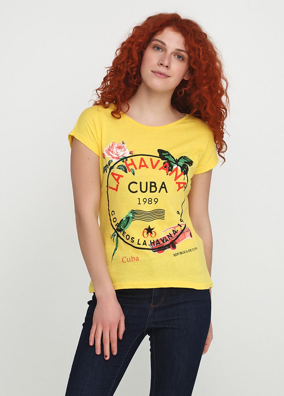 Футболка женская желтая с рисунком Carla Mara,M L