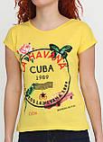 Футболка женская желтая с рисунком Carla Mara,M L, фото 3