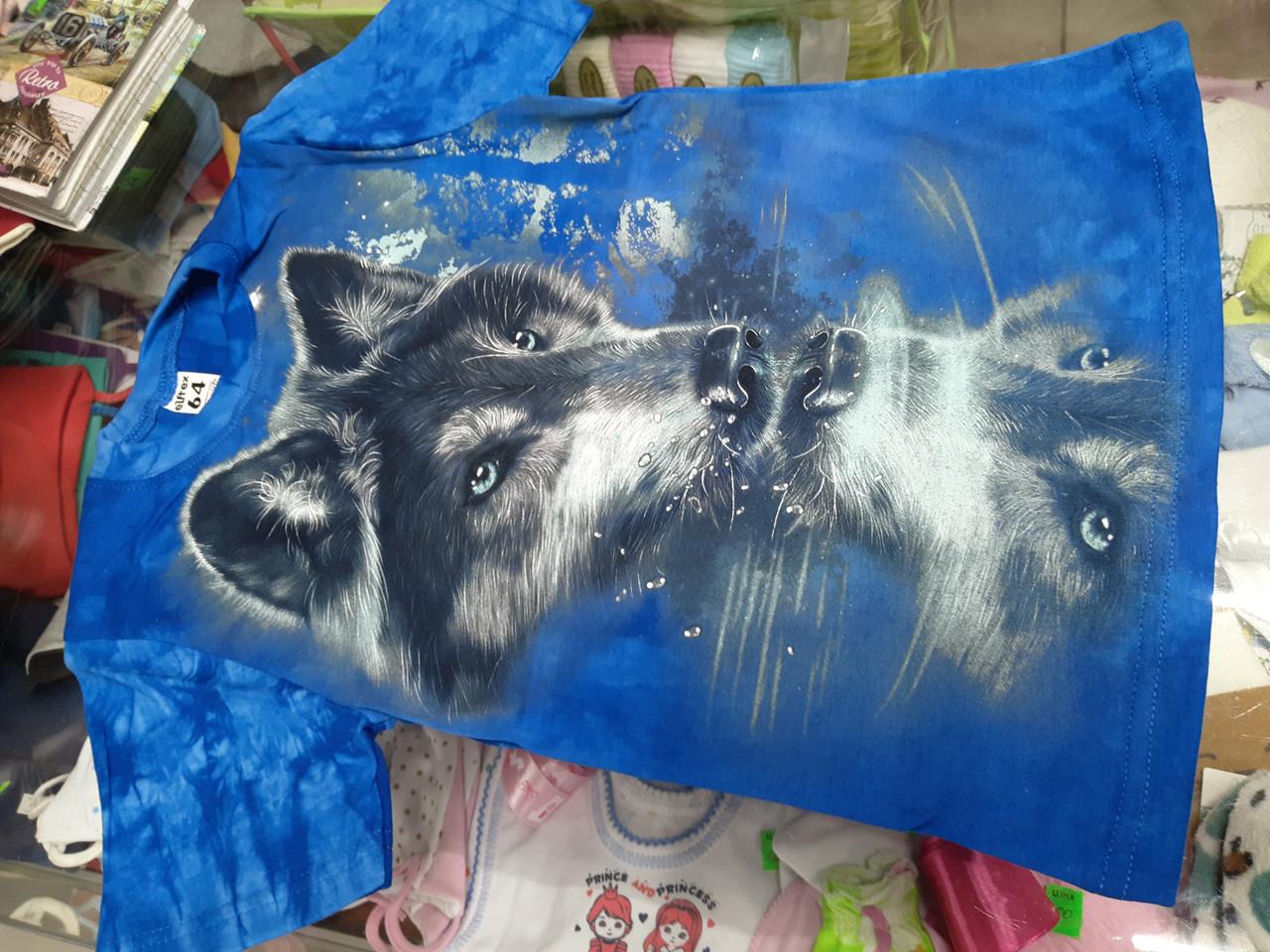 Детская футболка для мальчика Волк 3Д р.146 -176