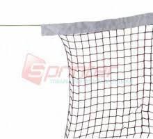 Сетка для бадминтона с тросом ( 1,2 мм), верхняя часть обшита тканью.