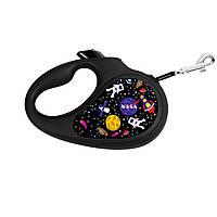 """Поводок-рулетка WAUDOG з малюнком """"NASA"""", розмір M, стрічка."""