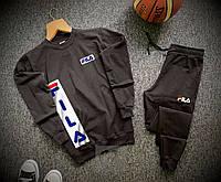Мужской черный спортивный костюм Fila
