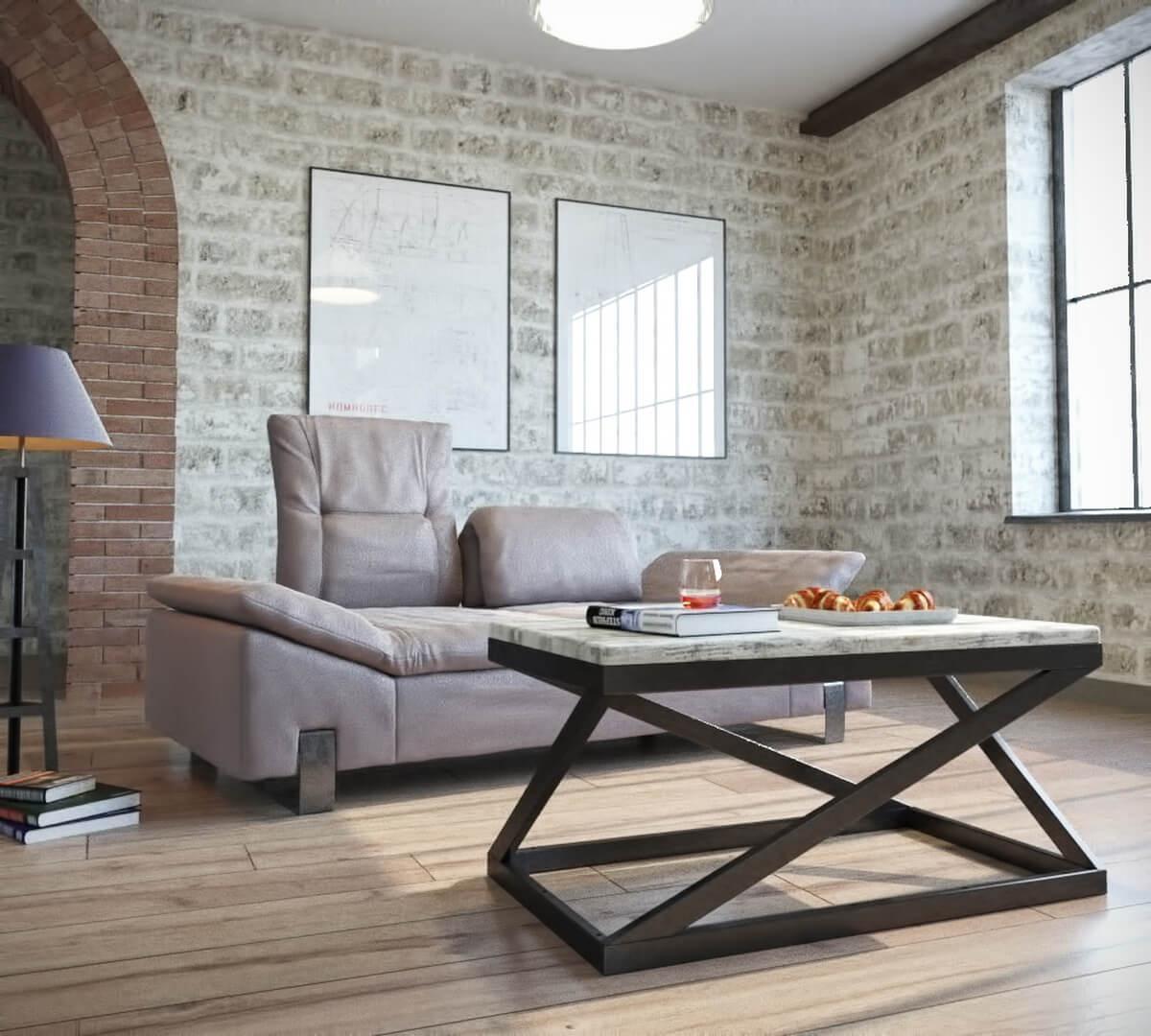 Стол журнальный Лонг Бент (серия Loft) ТМ Металл-Дизайн