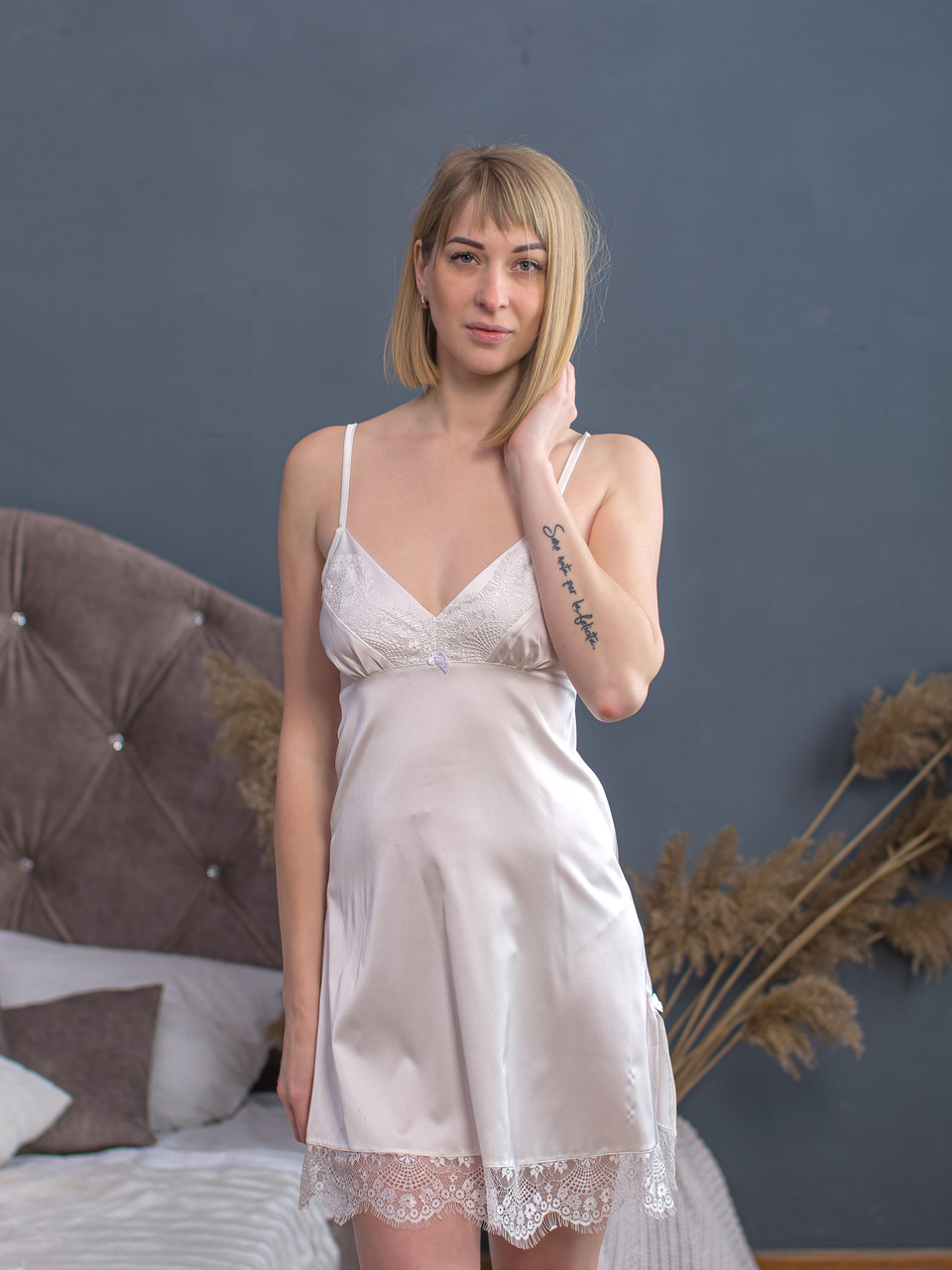 Сорочка Serenade сатин-шовк шампань з мереживом