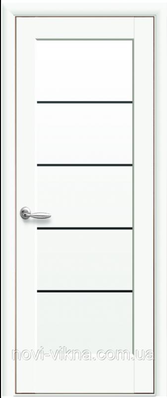 Межкомнатное полотно Мира Белый матовый 600 мм со стеклом BLK (черное), ПП Премиум.