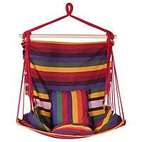 Гамак сидячий, ширина 95см, х/б, красный, подушки.