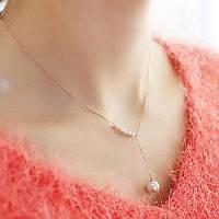 Жіночий ланцюжок намисто з імітацією перлів (золото)