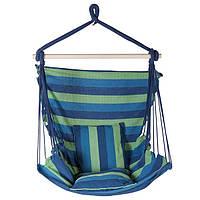 Гамак сидячий, ширина 95см, х/б, синий, подушки.