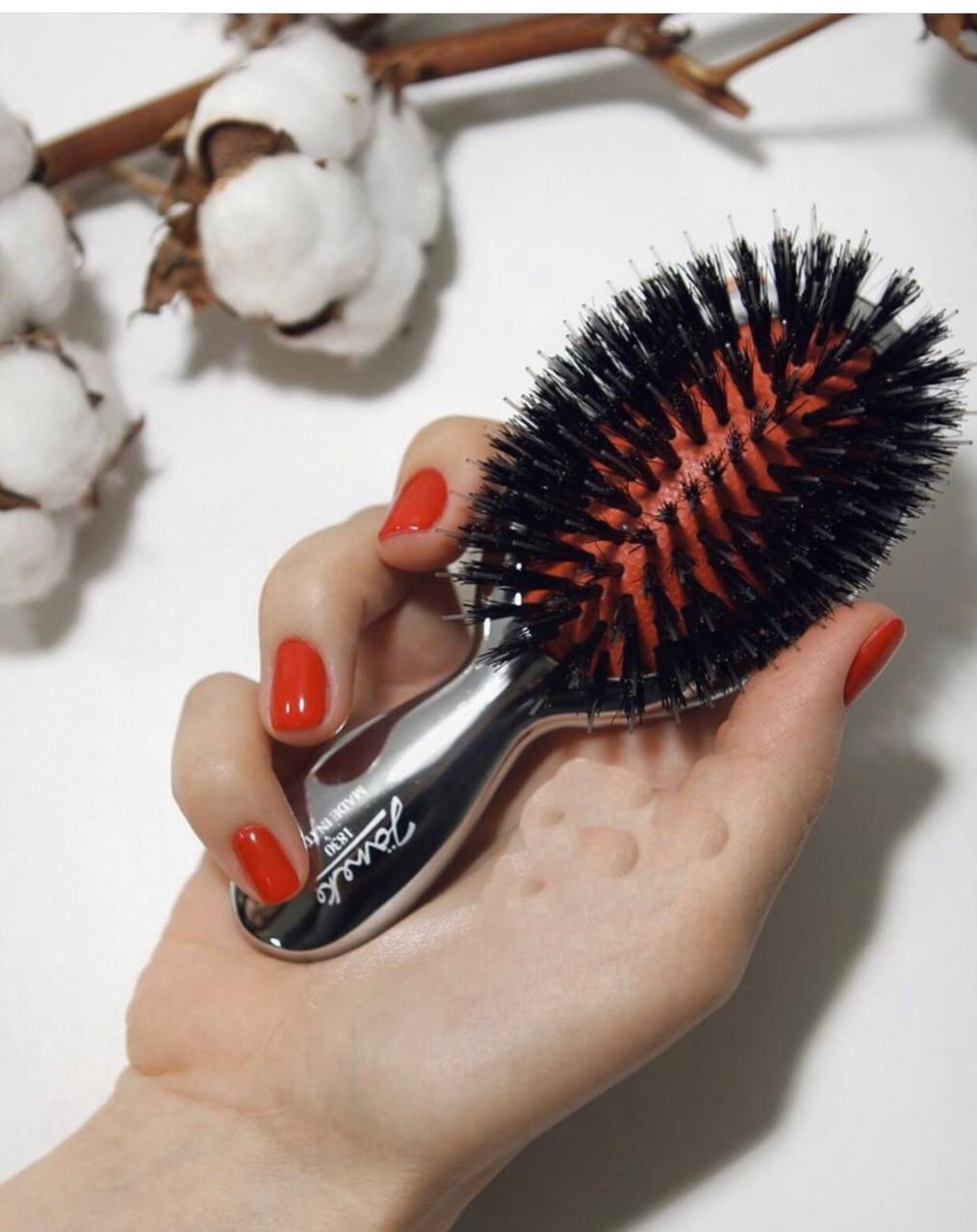 Janeke расческа для волос черная с натуральной щетиной кабана