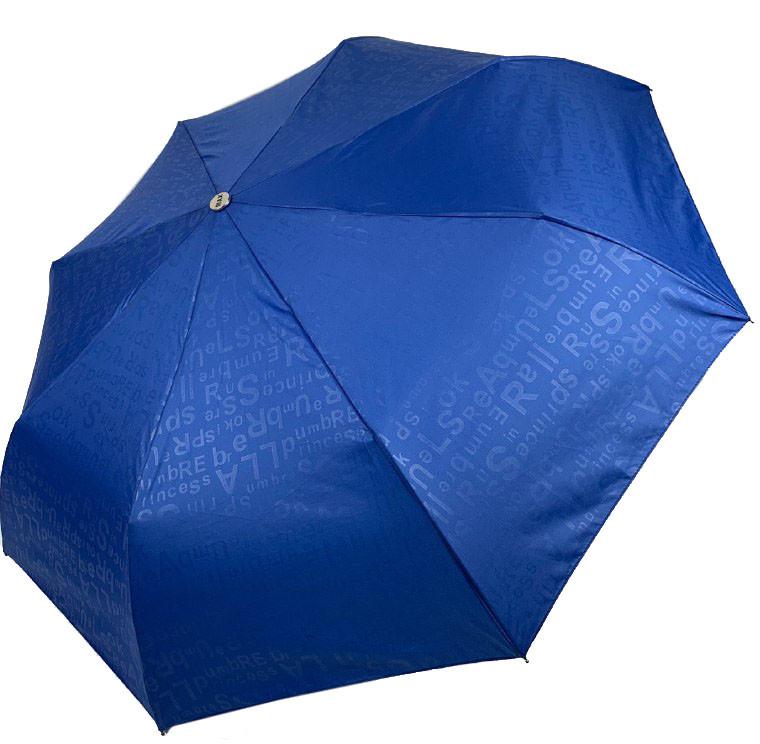 """Жіночий напівавтомат зонт з принтом літер по куполу, є система """"антиветер"""", синій, 2052-6"""