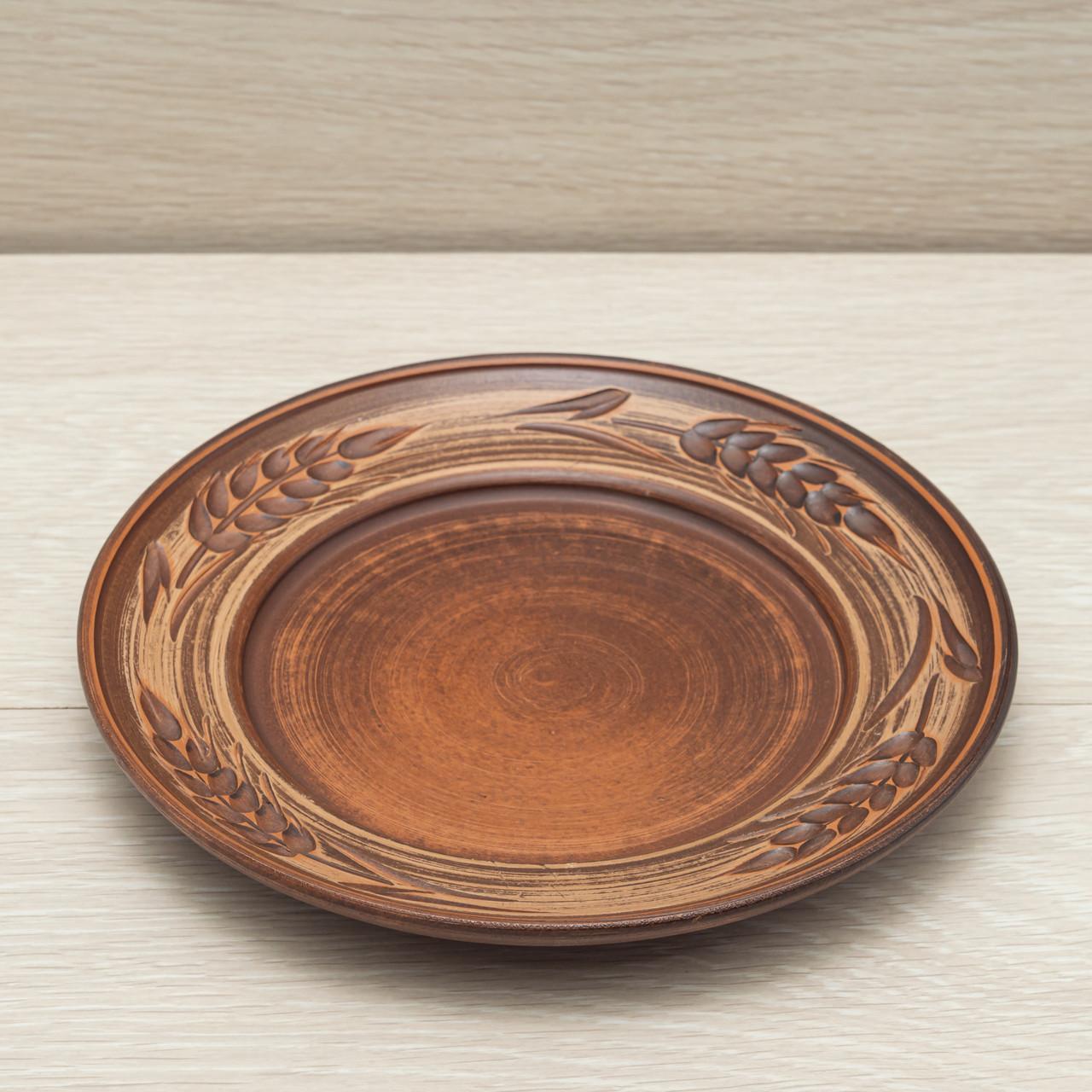 "Тарелка глиняная ""Колосок"" 20 см, ангоб"