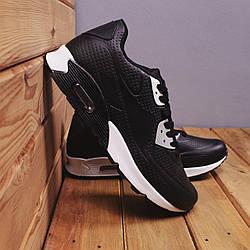 Мужские черные кроссовки из экокожи