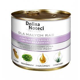 Консерва  Dolina Noteci Premium Dog для мелких пород собак с кроликом, фасолью и коричневым рисом, 185 гр