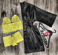 Комплект нижнего белья с халатом-набор одежды для дома.