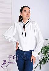 Нарядная белая легкая блуза с широкими рукавами на завязках, фото 2