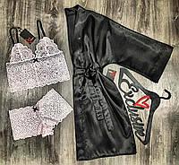 Черный атласный халат и розовый комплект бюст+трусы-шорты-комплект тройка.