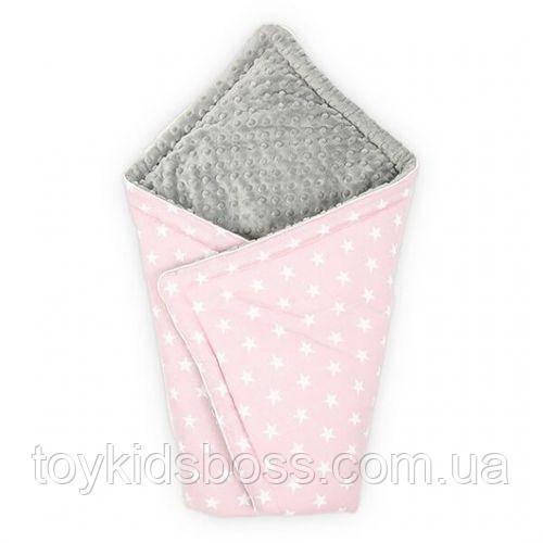 Конверт для новонародженого Рожевий з Сірим з зірками