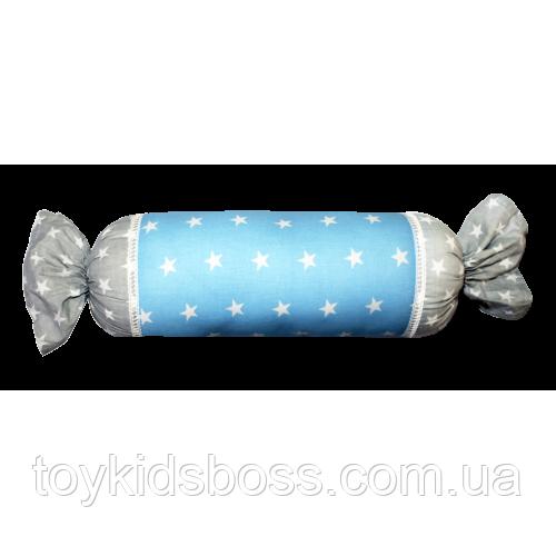 Подушка Хатка Конфета Голубая с серым