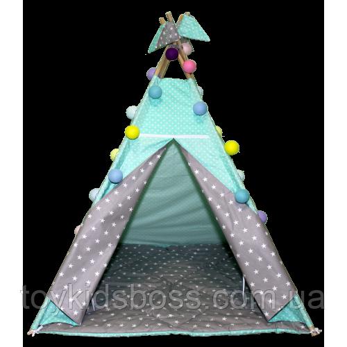 Вигвам Хатка комплект Звезды со стеганным ковриком