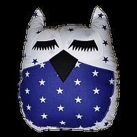 Подушка Хатка Сова синяя с белым