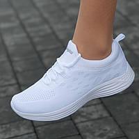 Кроссовки женские белые светлые сетка летние весенние модные для бега фитнеса (Код: Т1661)