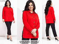 Діловий костюм жіночий з брюками (6 кольорів) ВК/-130 - Червоний, фото 1