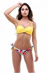 Раздельный купальник желтый лиф с плотной чашкой PUSH-UP и цветные плавки размеры S, M ПОЛЬША