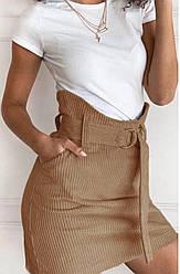 Короткая вельветовая юбка с поясом