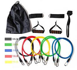 Набор эспандеров для упражнений   Комплект трубчатых эспандеров для фитнеса