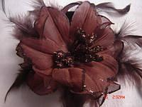 Краб для волос тканевый, с блестками, перья, цвета в ассортименте, диаметр цветка 9 см, (6 шт)