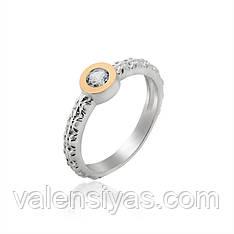 Кольцо серебряное с золотом и фианитами