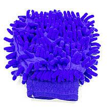 Рукавица для мытья авто Lesko 45-2A/008 Blue влажная сухая уборка мойка машины с микрофиброй, фото 3