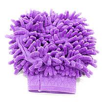 Рукавица для мытья авто Lesko 45-2A/008 Purple влажная сухая уборка мойка машины с микрофиброй, фото 3