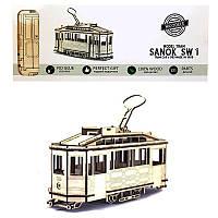 Деревянный конструктор 3D HandyGames - 3Д пазл трамвай SANOK SW 1 со Львова