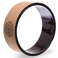 Колесо-кольцо для йоги пробковое Record Fit Wheel Yoga, пробковое дерево, р-р 33x14см, коричневый (FI-1746), фото 1