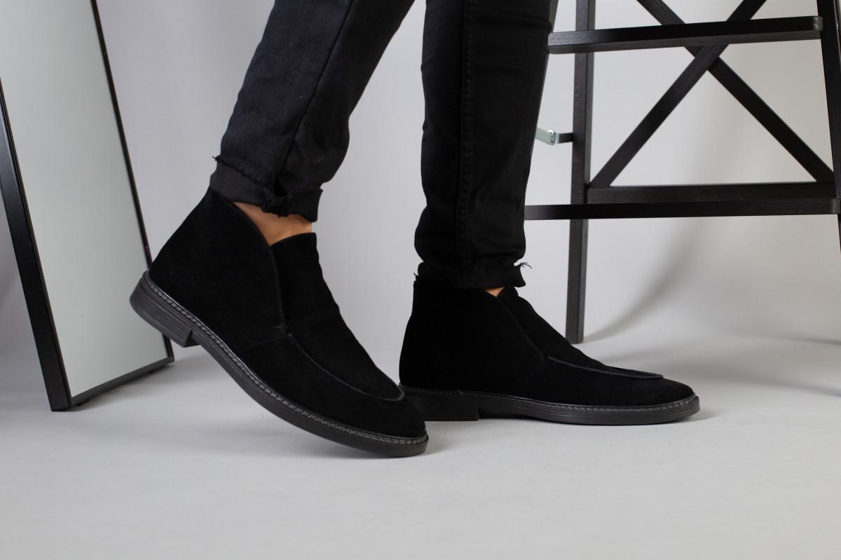 Туфлі чоловічі чорні замшеві лофери