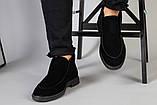 Туфлі чоловічі чорні замшеві лофери, фото 4