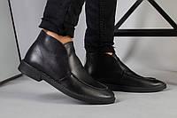 Демисезонные мужские черные кожаные лоферы, фото 1