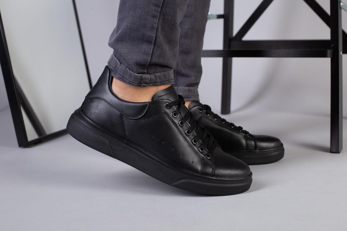 Мужские кожаные кеды черные