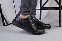 Мужские кожаные кеды черные, фото 1