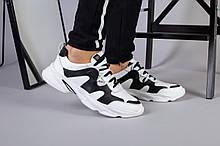 Мужские кожаные кроссовки, белый с черным