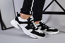 Мужские кроссовки из черного нубука с вставками белой кожи перфорация
