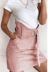 Розовая вельветовая женская мини юбка с высокой талией на поясе