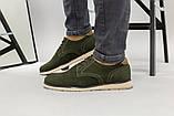 Чоловічі туфлі з нубука кольору хакі, на шнурках, фото 2