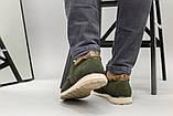 Чоловічі туфлі з нубука кольору хакі, на шнурках, фото 3
